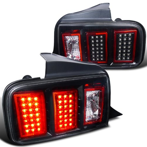 depo 05 09 ford mustang euro style led tail lights black. Black Bedroom Furniture Sets. Home Design Ideas