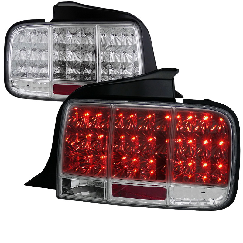 05 09 ford mustang led sequential turn signal led tail lights chrome. Black Bedroom Furniture Sets. Home Design Ideas