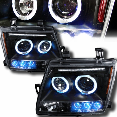 05-09 Nissan Xterra Dual Halo & LED DRL Projector Headlights - Black