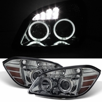 05-10 Chevy Cobalt 07-10 Pontiac G5 Angel Eye Halo LED Projector Headlights - Smoked