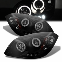 05-10 Chevy Cobalt / G5 / Pursuit Angel Eye Halo Projector Headlights - Black Smoked