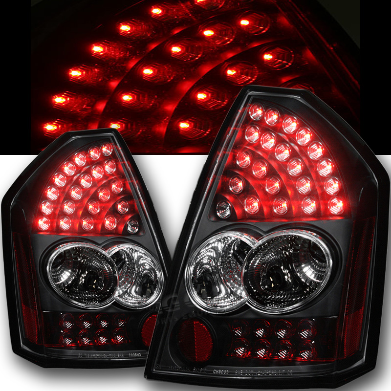 Chrysler 300 2006 Black Led Tail Lights: Spyder 2005-2007 Chrysler 300C Performance LED Tail Lights