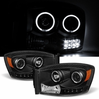 06-08 Dodge RAM 1500 2500 3500 Angel Eye Halo LED Projector Headlights - Black