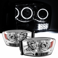 06-08 Dodge RAM 1500 2500 3500 Angel Eye Halo LED Projector Headlights - Chrome