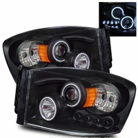 06-08 Dodge Ram 1500 2500 Dual Halo & LED Euro Projector Headlights - Black
