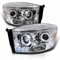 06-08 Dodge Ram Dual Angel Eye Halo & LED Strip Projector Headlights - Chrome