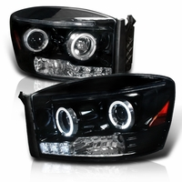 06-08 Dodge Ram Dual Halo & LED Strip Projector Headlights - Gloss Black