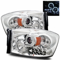 06-08 Dodge Ram Pickup CCFL Halo & LED Euro Projector Headlights - Chrome
