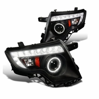 07-10 Ford Edge Angel Eye Halo & LED DRL Strip Projector Headlights - Black