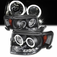 07-12 Ford Edge Angel Eye Halo & LED Strip Projector Headlights - Black