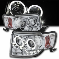 07-12 Ford Edge Angel Eye Halo & LED Strip Projector Headlights - Chrome