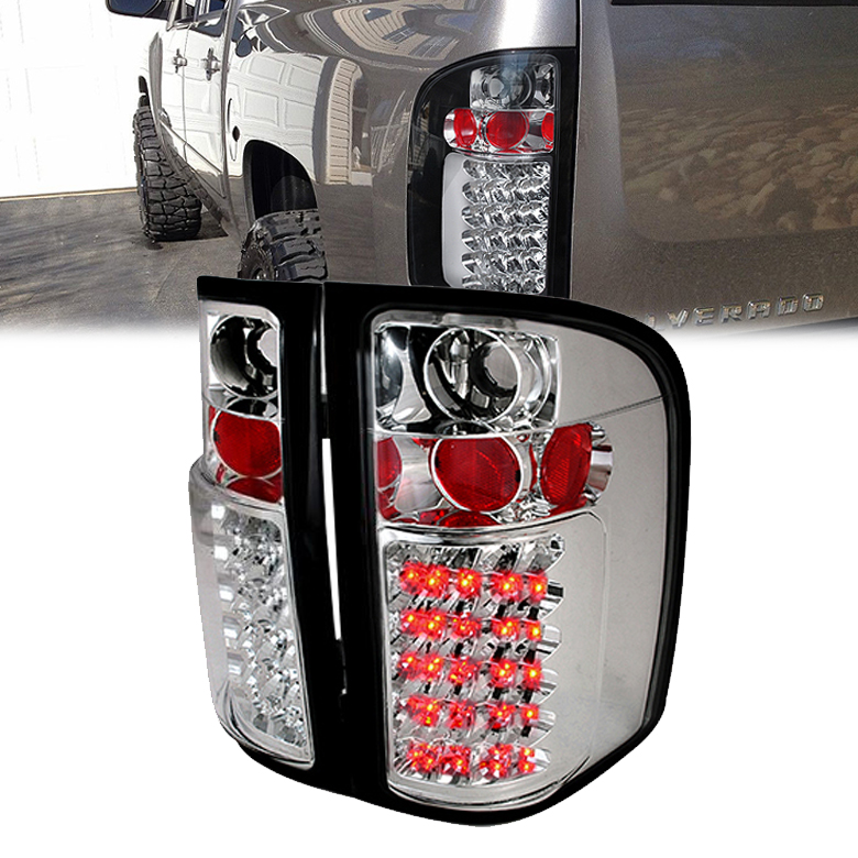 07 13 chevy silverado pickup truck bright led tail lights chrome. Black Bedroom Furniture Sets. Home Design Ideas