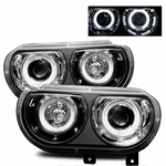 08-10 Dodge Challenger CCFL Angel Eye Halo Projector Headlights - Black