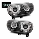 08-12 Dodge Challenger [Factory HID Model] CCFL Halo Projector Headlights - Black