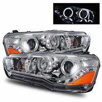 08-11 Mitsubishi Lancer / EVO X LED DRL CCFL Halo Projector Headlights - Chrome