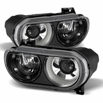 08-14 Dodge Challenger [OEM HID Model] Replacement Projector Headlights - Black