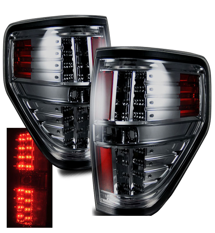 09 13 ford f150 styleside euro style led tail lights smoked. Black Bedroom Furniture Sets. Home Design Ideas