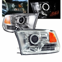 09-2013 Dodge Ram 1500 2500 3500 CCFL Angel Eye Halo Projector Headlights (non 4-Lamp)- Chrome