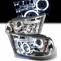 09-14 Dodge Ram CCFL Dual Angel Eye Halo & LED Projector Headlights- Chrome
