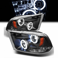 09-14 Dodge Ram Dual Angel Eye Halo & LED Projector Headlights- Black