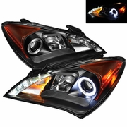 10-13 Hyundai Genesis Angel Eye Halo / LED DRL Projector Headlights - Black