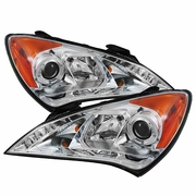 10-12 Hyundai Genesis Angel Eye Halo / LED DRL Projector Headlights - Chrome