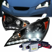 HID Xenon + 10-12 Hyundai Genesis LED DRL Projector Headlights - Black