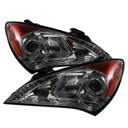 10-13 Hyundai Genesis Angel Eye Halo / LED DRL Projector Headlights - Smoked