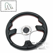 """12.5"""" 320MM RACING 6-HOLE STEERING WHEEL PVC LEATHER RED STITCHING + HORN BUTTON"""