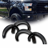 2015-2016 Ford F150 Pickup Pocket Rivet Style Wheel Fender Flares - Smooth Black