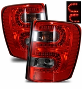 1999-2004 JEEP Grand Cherokee LED Tail Lights - Red / Smoked