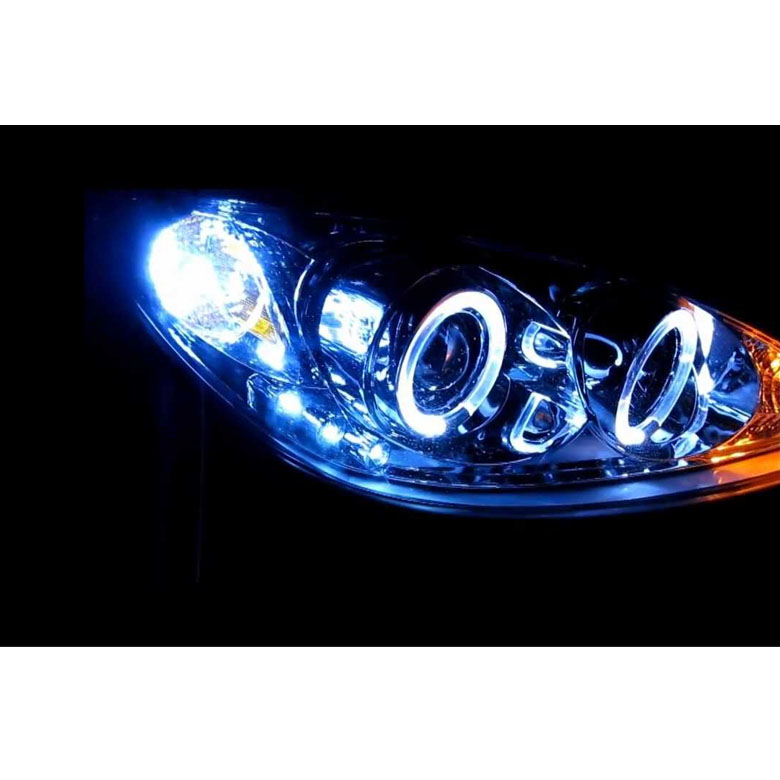 2002 2006 toyota camry angel eye halo led projector headlights chrome. Black Bedroom Furniture Sets. Home Design Ideas
