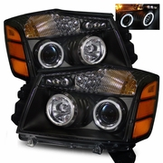 2004-2012 Nissan Titan / Armada CCFL Angel Eye Halo & LED Projector Headlights - Black