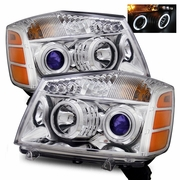 2004-2012 Nissan Titan / Armada CCFL Angel Eye Halo & LED Projector Headlights - Chrome