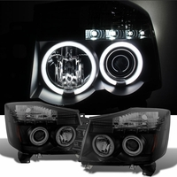 2004-2014 Nissan Titan / Armada Angel Eye Halo & LED Projector Headlights - Black / Smoked
