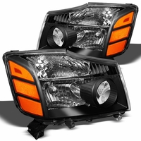 2004-2014 Nissan Titan / Armada Replacement Crystal Headlights - Black