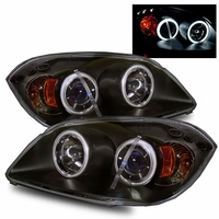2005-2010 Chevy Cobalt / Pontiac G5 CCFL Angel Eye Halo Projector Headlights - Black