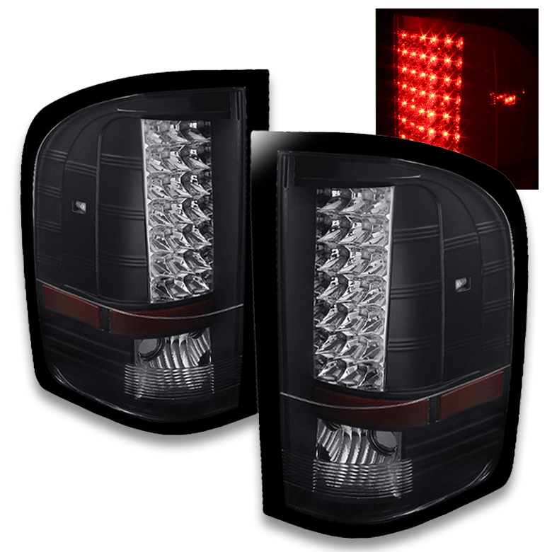2007 2013 chevy silverado 1500 2500 3500 led tail lights black. Black Bedroom Furniture Sets. Home Design Ideas