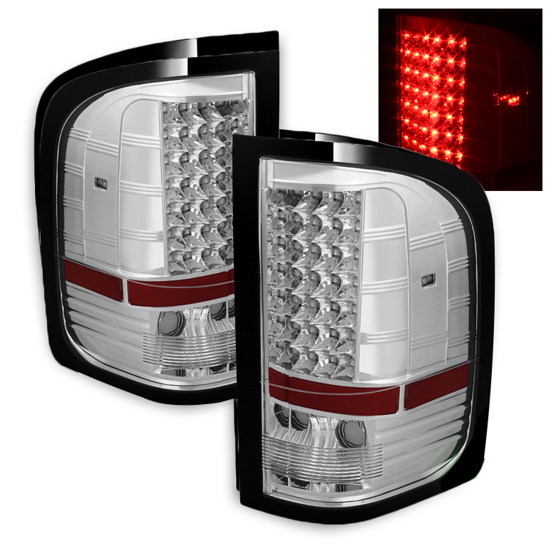 2007 2013 chevy silverado 1500 2500 3500 led tail lights chrome. Black Bedroom Furniture Sets. Home Design Ideas