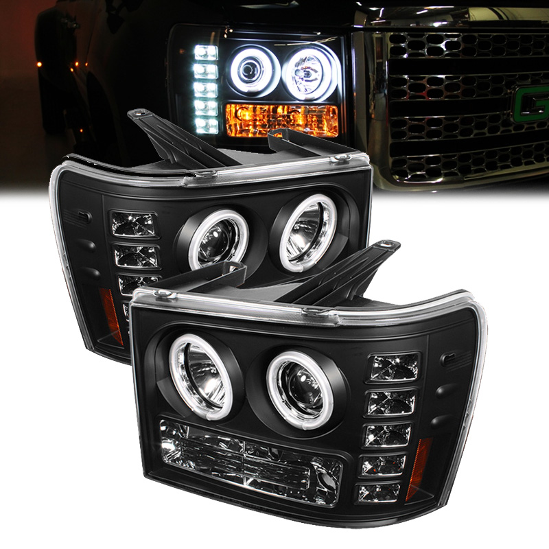 Gmc Sierra Angel Eye Halo Led Projector Headlights Black on 2011 Gmc Sierra Halo Headlights