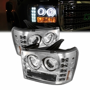 2007-2013 GMC Sierra Angel Eye Halo & LED Projector Headlights - Chrome
