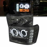 2007-2013 GMC Sierra Angel Eye Halo & LED Projector Headlights - Smoked