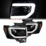 2009-2014 Ford F150 [D3S HID Model] LED Neon Bar Projector Headlights - Black