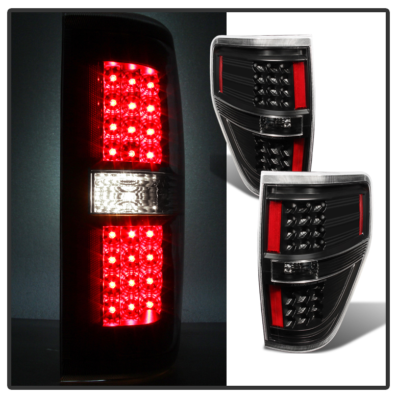 2009 2014 ford f150 performance led tail lights black. Black Bedroom Furniture Sets. Home Design Ideas