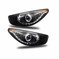 2010-2012 HYUNDAI TUCSON LED DRL STRIP & HALO PROJECTOR HEADLIGHTS - BLACK