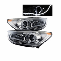 2010-2012 Hyundai Tucson LED Neon & Angel Eye Halo Projector Headlights - Chrome