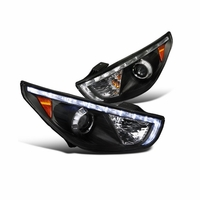 2010-2013 HYUNDAI TUCSON LED DRL PROJECTOR HEADLIGHTS - BLACK