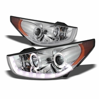 2011-2013 Hyundai Tucson R8 Style LED DRL Projector Headlights - Chrome