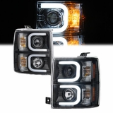 2014-2015 Chevy Silverado Optic DRL LED Halo Projector Headlights - Black