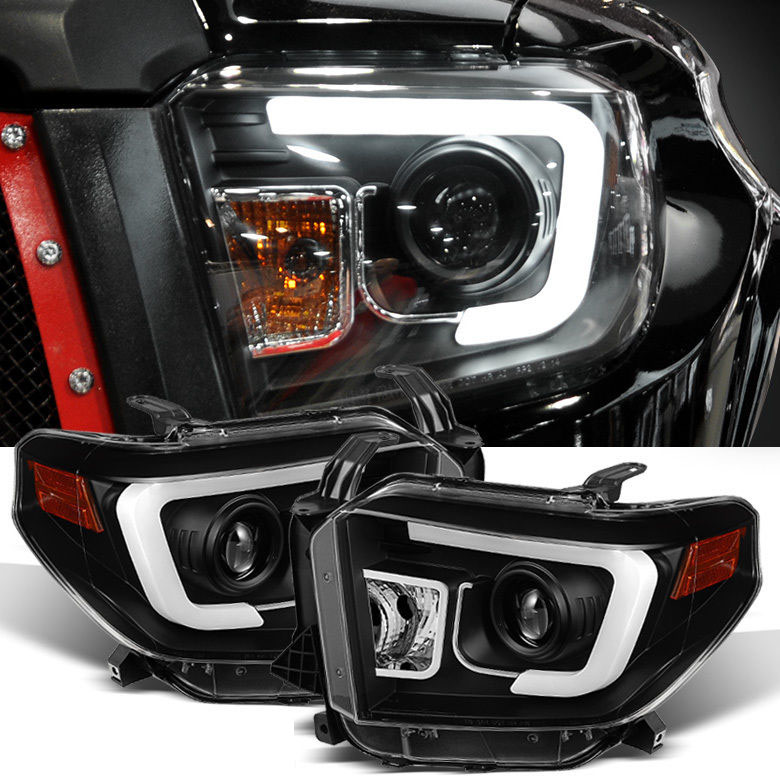 2014 2015 toyota tundra led tube projector headlights black